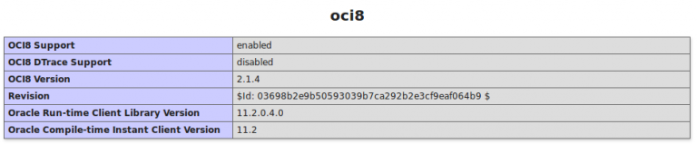 Informations Screen from php showing that the oci8 is active.